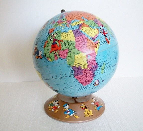 Vintage World Globe -  1950s Disney Characters