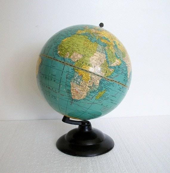 "1938 Petite Crams 7"" World Globe - Pre WWII  Identifying Shortwave Stations"