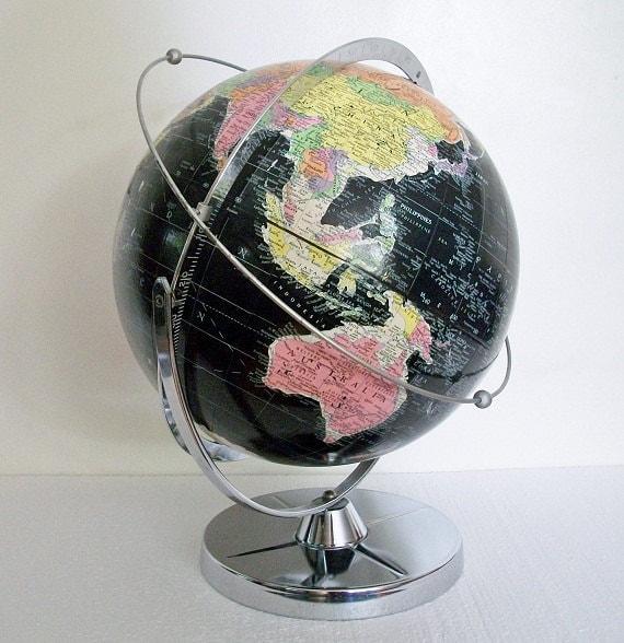 RESERVED for Velda - Vintage World Globe - Starlight w/ Satellite Orbit Demonstrator - Scarce - TREASURY PICK