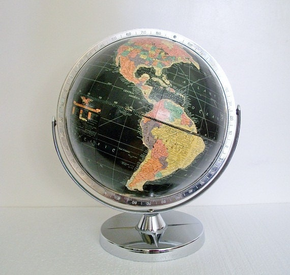 Vintage World Globe - Starlight 1957 - Cold War Eames Retro - Replogle