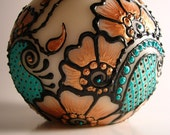 Warm Copper and Vibrant Aqua Round Unscented Candle with Henna Design