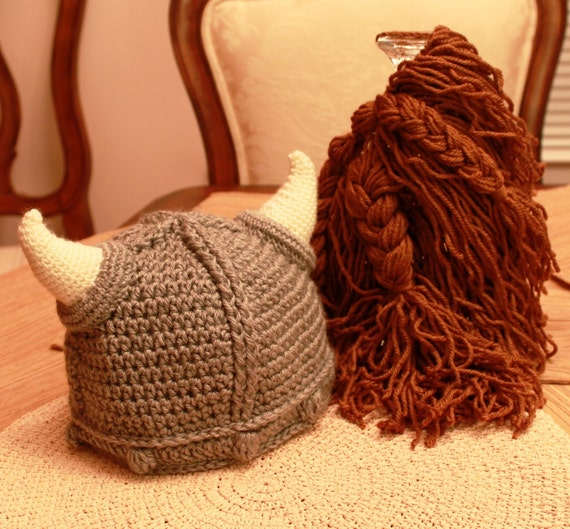 RESERVED - SVEN182 - Viking Hat - Adult Size with detachable beard (Soft Acrylic Yarn)