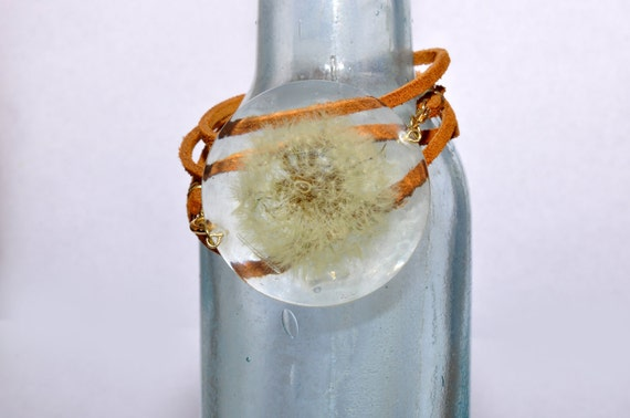 Real Dandelion Resin Leather Wrap Bracelet XL Clear Boho Beach Flower