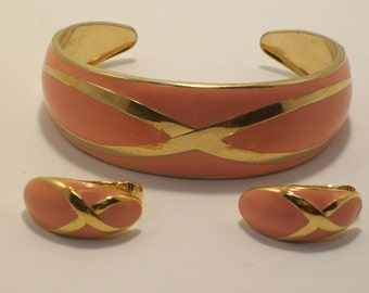 Vintage Bracelet and Clip on Earrings Cuff Bangle Gold Tone and Enamel Set by AVON