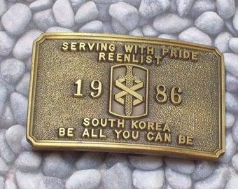 Vintage Belt Buckle Brass Metal 1986 South Korea