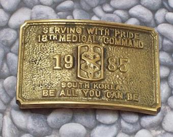 Vintage Belt Buckle Brass Metal 1985 18th Medical Command South Korea