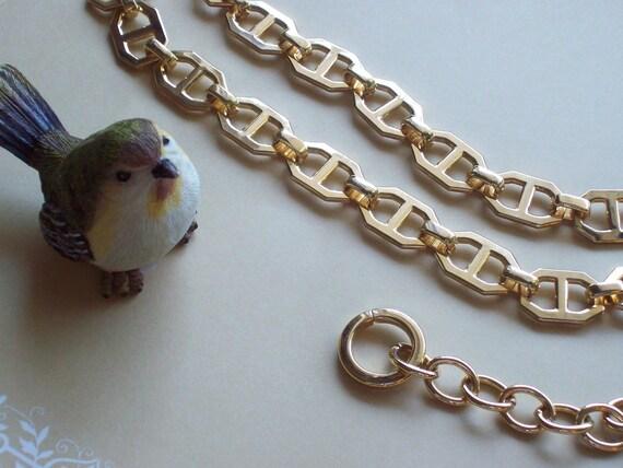 Vintage Gold Tone Open Link Mariner Style Chain Belt