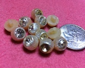 Lot of 12 Vintage Rhinestone Beige/White/Tan Buttons