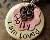 Cat ID Tag (I Am Loved... Brass Flower)... SMALL Pet ID Tags/Tag... Small Dog collar tag