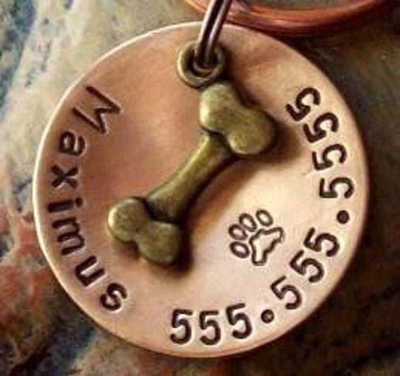 "Dog Tag, Pet ID Tag, Pet Tag, Pet Tags, Engraved Pet Tag, Dog, Collar Tag, Metal Pet Tag, Custom ID Tag, (Antique Soup Bone 1"")"