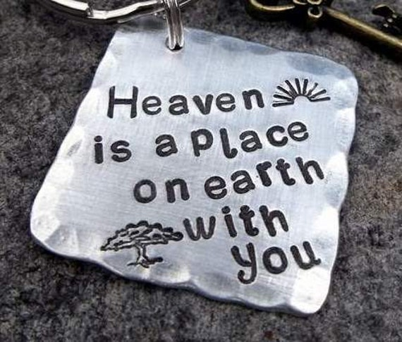 Keychain Heaven Is A Place On Earth With You By Fetchapassiontags