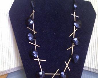 Black Onyx and Brass Necklace