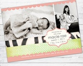 Birth Announcement Photo Card (girl) -- Boutique