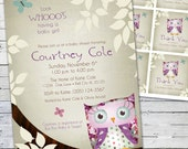 Owl Baby Shower Invitation and Gift Bag Tags (purple)-- Little Owlie