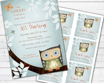 Owl Baby Shower Invitation (boy) and gift bag tags- Little Owlie