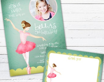Ballerina Birthday Invitation and Thank You Note- Tiny Dancer, Teal