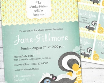 Gender Neutral Baby Shower Invitation -- Little Stinker Skunk