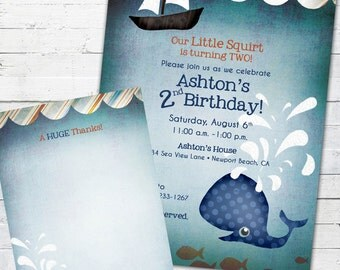 Little Squirt (boy)-- Birthday Invite and Matching Thank You Note