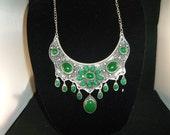 Tibet Silver Green Jade Necklace