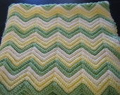Lovely Baby Afghan in Green and Yellow Colors