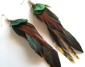 Long Feather and Peacock feather earrings with sterling silver ear wires