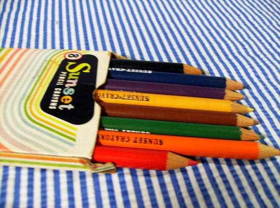 SALE -- Vintage Sunset Pencil Crayons by Hasbro