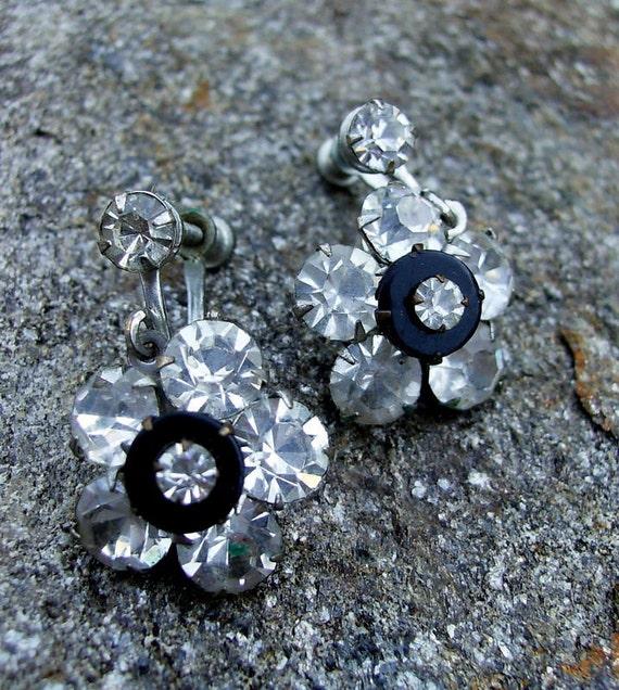 Flower Dangle Rhinestone Screw Back Earrings