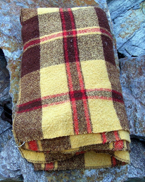 Yellow and Brown Plaid Throw
