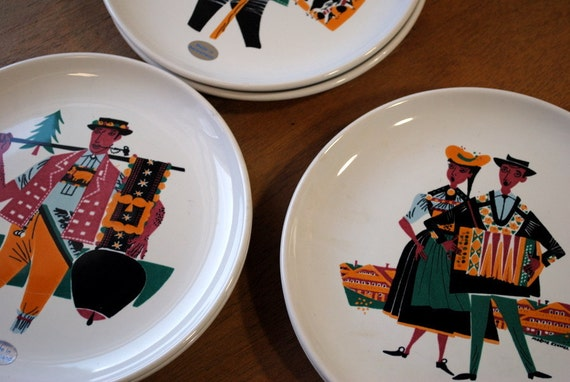 Set of 6 Moritz Kennel For Landert Switzerland Folk Plates