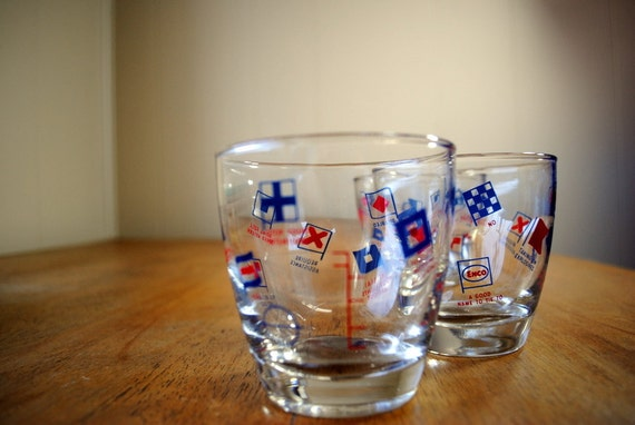 RESERVED FOR KRIS Libbey Enco Marine Flag Low Ball Glasses, Set of 3