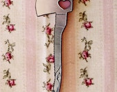Love Hatchet Necklace in Pink/Silver