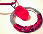 Bright Red LED Light on a Computer Spacer Ring Pendant with Red Wire Necklace