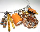 Sale - Computer Jewelry Bib Component Necklace in Caramel Orange - Eco-Friendly