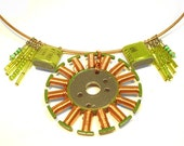 Cyber Monday Sale - Computer Motor Statement Necklace - Copper and Chartreuse - Upcycled Computer Parts