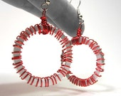 Red Wire Wrapped Spacer Ring Upcycled Computer Earrings Brilliant Ruby