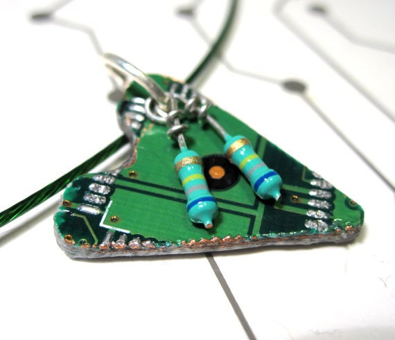 Circuit Board Heart Necklace Upcycled Computer Parts Green Shamrock