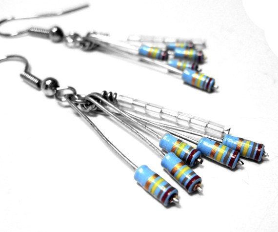 Resistor Dangle Earrings Pale Blue Computer