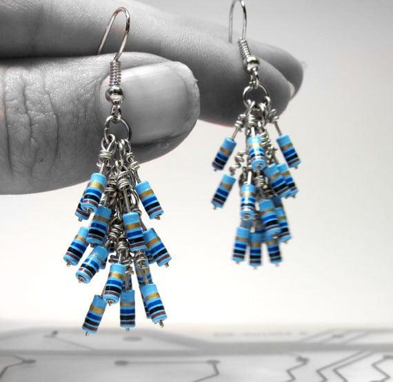 Resistor Cluster Earrings Sky Blue Computer Part Jewelry
