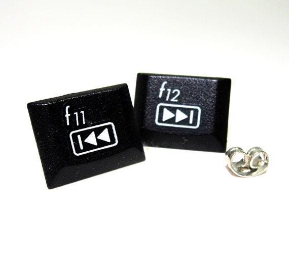 Laptop Keyboard Earrings Black Fast Forward Rewind F11 F12 Computer Recycle