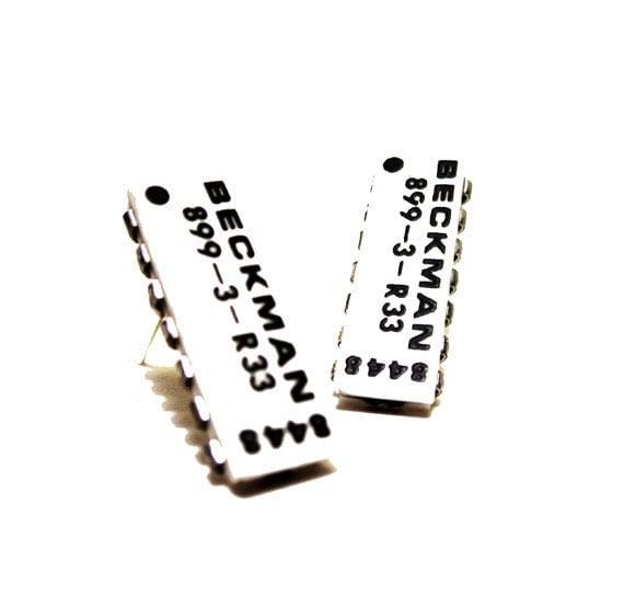 Computer Chip Earrings Black White Rectangle