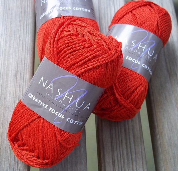 Worsted Weight Yarn : WORSTED Weight Yarn - Scarlet Cotton - Nashua Handknits - 50g 93 yards ...