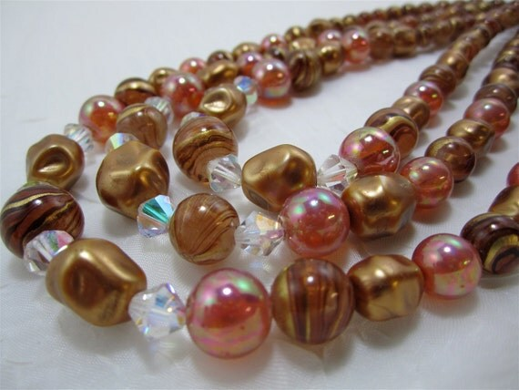 Vintage 1950's Necklace - 3 Strands of Copper Gold and Rosy Peach Jewelry for Women Teens Mad Men Inspired 60s