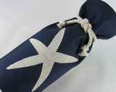 Wine Bag Navy Blue Starfish Canvas Nautical Wedding Favor Bridesmaid Bottle Tote