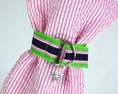 Wine Bag Pink Blue Green Grosgrain Ribbon Starfish Charm Seersucker Summer Bottle Tote