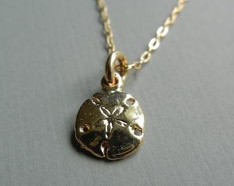 Tiny Sand Dollar Necklace (Gold)