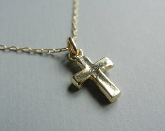 Tiny Cross Necklace (Gold)