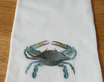 Machine Embroidery BLUE CRAB Flour Sack Towel Kitchen Hostess Gift Zodiac symbol Cancer