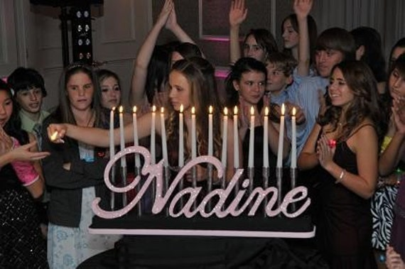Bat Mitzvah Candle Lighting Board Sweet 16 Quinceanera Custom Candelabra