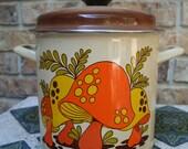 Vintage Mushroom Enamel Steamer Pot