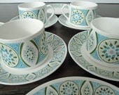 Retro 1950s set of 4 tea cups with saucers and cake plates 12 piece set florentine fine bone china elizabethan
